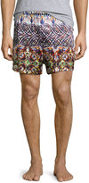 Majestic International Silk Printed Boxer Shorts, Terracotta