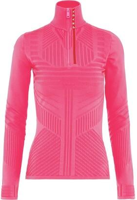 Prada Linea Rossa technical jacquard-knit top