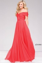 Jovani Off the Shoulder Long Chiffon Prom Dress 42003