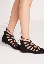 Missguided Cut Out Flat Shoes Black