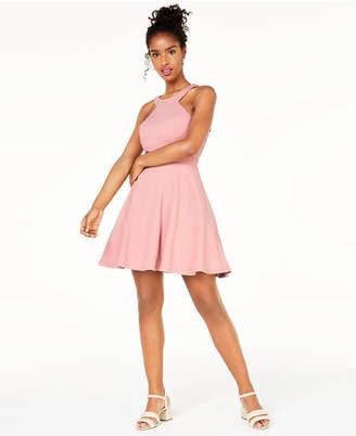 City Studios Juniors' Lace Open-Back Fit & Flare Dress