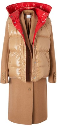 Burberry Camel Hair Coat With Convertible Puffer Vest