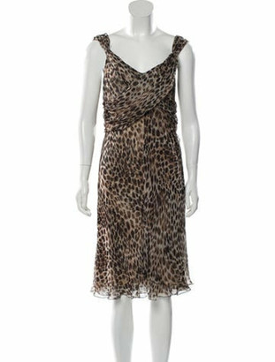 Valentino Animal Print Midi Dress brown