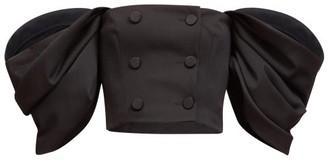Carolina Herrera Off-the-shoulder Puff-sleeve Wool-blend Top - Black