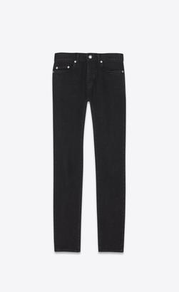 Saint Laurent Distressed Skinny Jeans In Deep Black Stretch Denim Deep Black 27