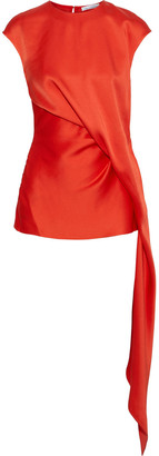 Oscar de la Renta Draped Satin Top