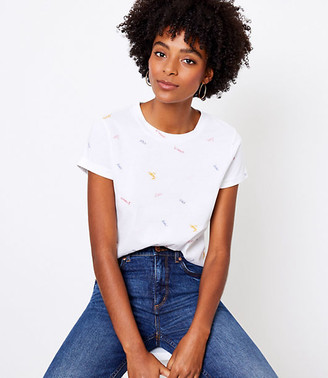 LOFT Petite Love Embroidered New Crew Tee