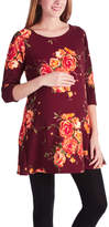 Glam Burgundy & Orange Floral Scoop Neck Maternity Tunic