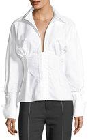 Jacquemus Paula Hook-Front Cotton Blouse