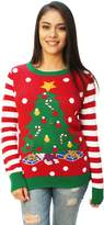 Ugly Christmas Sweater Women's Christmas Tree Light Up Sweater-Medium