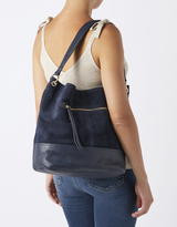 Monsoon Zelda Zip Pocket Suede & Leather Hobo Bag