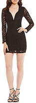 Xtraordinary Long Sleeve Glitter Lace Sheath Dress
