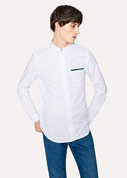Paul Smith Men's Tailored-Fit White Band-Collar Cotton Shirt With Blue Detailing