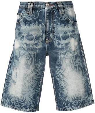 Philipp Plein Distressed Skull Print Shorts