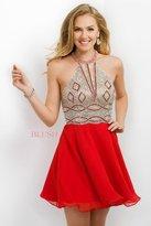 Blush Lingerie Crystal Embellished Halter Style A-Line Short Dress 11186