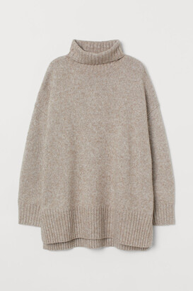 H&M Oversized Turtleneck Sweater - Brown