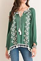 Entro Embroidered Peasant Top