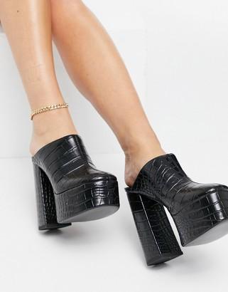 ASOS DESIGN Peco super high heeled mules in black