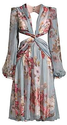 PatBO Women's Peony Print Cutout Midi Dress