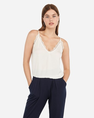 Express Lace Banded Bottom Cropped Cami