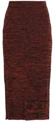Pringle Ribbed Melange Wool And Cotton-blend Midi Skirt