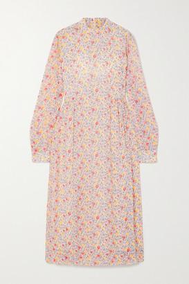 Ganni Floral-print Georgette Midi Dress - Ivory