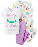 "Carter's 4-Piece ""Love & Donuts"" Pajama Set in White"