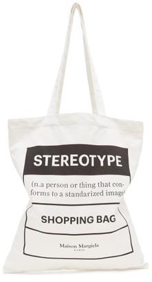 Maison Margiela Stereotype-print Cotton-canvas Tote Bag - Mens - White