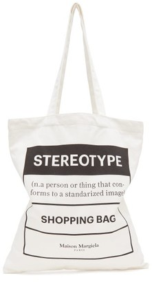 Maison Margiela Stereotype-print Cotton-canvas Tote Bag - White