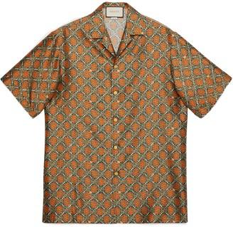 Gucci GG spots print silk bowling shirt