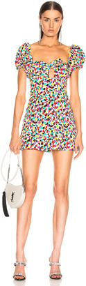 ATTICO Jacquard Puffy Sleeve Mini Dress in Multicolor Spot | FWRD