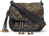 Prada Messenger Leather And Quilted Shell Shoulder Bag - Army green