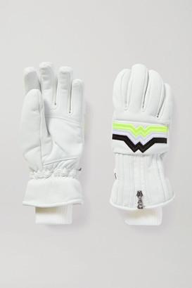 Bogner Zoe Embroidered Leather Ski Gloves - White
