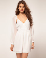 Chiffon Wrap Dress With Cut Out Shoulder