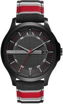 Armani Exchange A|X Men's Red Stripe Fabric Strap Watch 46mm AX2197