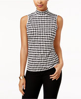 Charter Club Houndstooth Mock-Neck Top, Only at Macy's