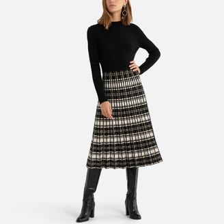 Derhy Crew-Neck Midi Dress with Pleated, Checked Skirt