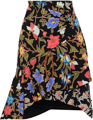 Peter Pilotto Asymmetric Layered Floral-print Cloque Skirt