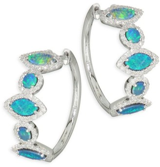 Meira T Pave Diamond, Opal & 14K White Gold Hoop Earrings