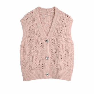 Ndleng Women Fashion V Neck Hollow Out Crochet Knitting Sweater Lady Diamond Button Sleeveless Vest Chic Cardigan Tops as pic S610BB S