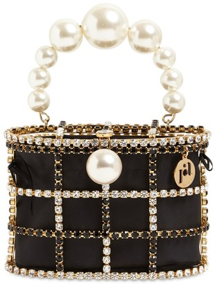 Rosantica Holli Crystal & Pearl Box Top Handle Bag