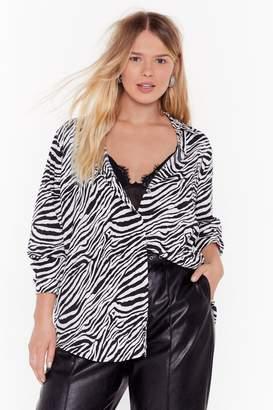 Nasty Gal Womens The Last I Herd Plus Relaxed Zebra Shirt - White - 16