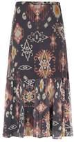 SET Gathered-Hem Midi Skirt