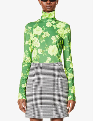 Off-White Floral-print stretch-jersey top