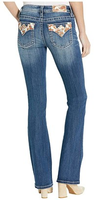 Miss Me Cow Hide Flap Bootcut Jeans in Dark Blue (Dark Blue) Women's Jeans