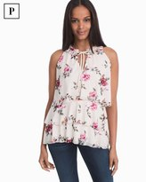 White House Black Market Petite Sleeveless Tiered Floral Top