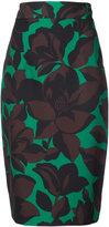 Milly macro floral print skirt