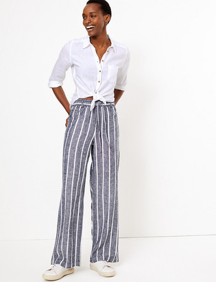Marks and Spencer Linen Drawstring Wide Leg Trousers