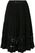Oscar de la Renta jet bead lace embroidery skirt - women - Merino - S