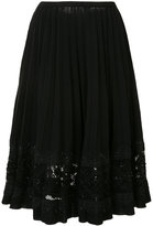 Oscar de la Renta jet bead lace embroidery skirt